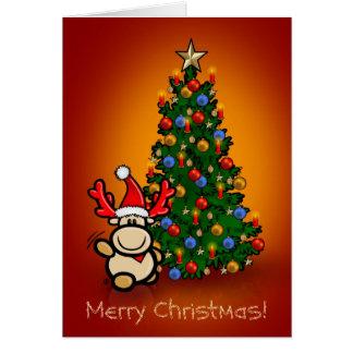 Grußkarte mit Elch Elmondo und Weihnachtsbaum