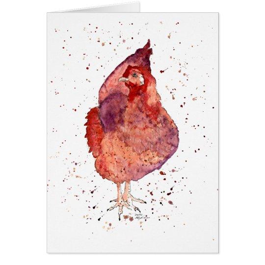 Grußkarte mit handgemaltem Huhn