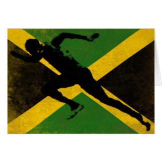 Grußkarte mit Sprinter auf Jamaika-Flagge