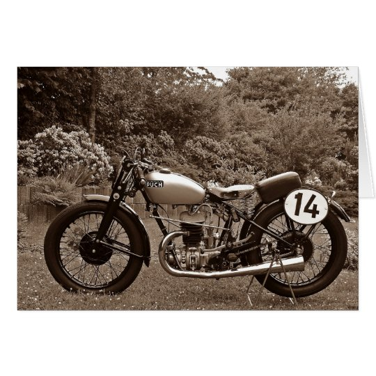 Grußkarte Motorrad Oldtimer Puch S4