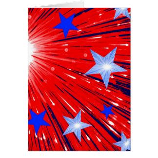 Grußkartenporträt des Feuerwerks rotes weißes Karte
