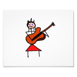 gtr blaue Augen des weiblichen Gitarren-Strichmänn Kunstphotos