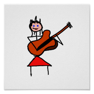 gtr blaue Augen des weiblichen Gitarren-Strichmänn Posterdrucke