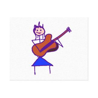 gtr Lila des weiblichen Gitarren-Strichmännchen-Br Gespannter Galeriedruck