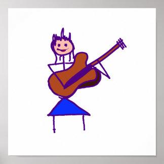 gtr Lila des weiblichen Gitarren-Strichmännchen-Br Posterdrucke