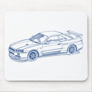 GTR Skizze R34 2000 Nis-Skyline Mousepad