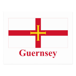 Guernsey-Flagge mit Namen Postkarte