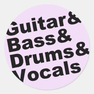 Guitar&Bass&Drums&Vocals (Schwarzes) Runder Aufkleber