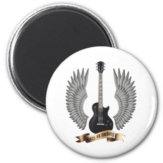 Guitars and wings black runder magnet 5,1 cm