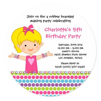 Gummiarmband-Geburtstags-Party Einladung Quadratische 13,3 Cm Einladungskarte