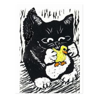 Gummiente u. Kätzchen, Block-Druck Postkarte