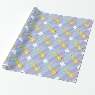 Gummienten-Familie auf Blau Geschenkpapier