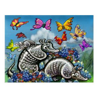 Gürteltierebluebonnets-Schmetterlings-Wildblumen Postkarte