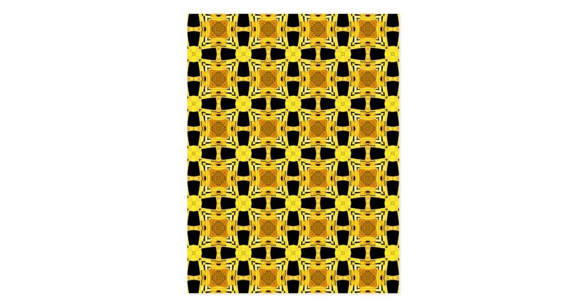 Gustav Klimt das Kuss-Muster-Gelb-Schwarz-Gold Postkarten  Zazzle