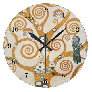 Gustav Klimt der Baum der Leben-Kunst Nouveau Große Wanduhr