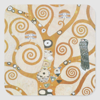 Gustav Klimt der Baum der Leben-Kunst Nouveau Quadratischer Aufkleber