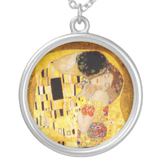 Gustav Klimt der Kuss Nouveau Versilberte Kette