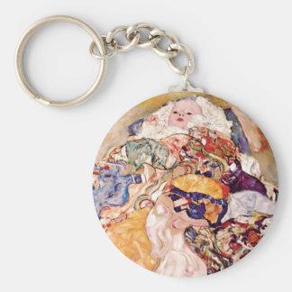 Gustav Klimt - die Baby-Wiege - neugeboren Schlüsselanhänger