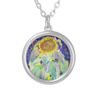 Gustav Klimt - die Sonnenblume-Kunst-Malerei Versilberte Kette