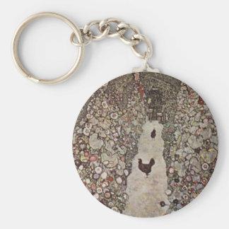 Gustav Klimt - Garten mit Hähnen Schlüsselanhänger