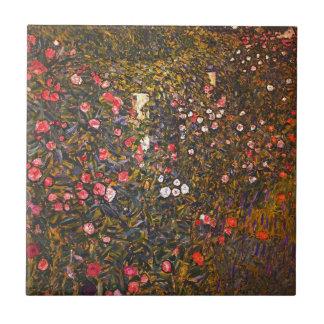 Gustav Klimt //Italenische Gartenlandschaft Kleine Quadratische Fliese