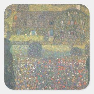 Gustav Klimt - Landhaus durch die Attersee Kunst Quadratischer Aufkleber