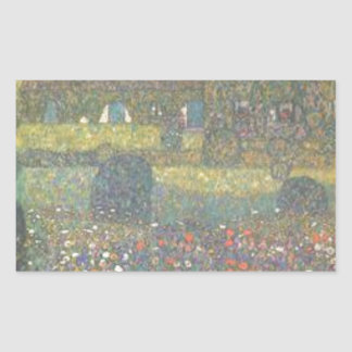 Gustav Klimt - Landhaus durch die Attersee Kunst Rechteckiger Aufkleber