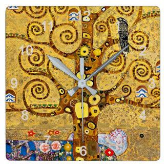 "Gustav Klimt , "" Tree of life "" Quadratische Wanduhr"