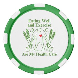 Gut essen und Übung sind mein Gesundheitswesen Pokerchips