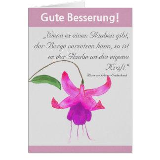 """Gute Besserung"" Karte Fuchsienblüte"