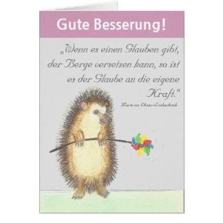 """""""Gute Besserung"""" Karte mit kleinem Igel"""