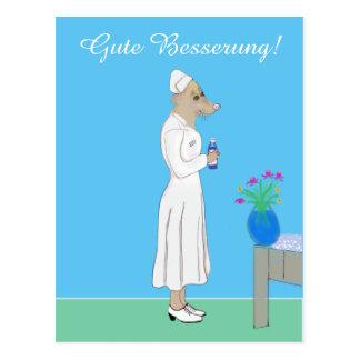 Gute Besserung - liebevolle Krankenschwester Postkarte