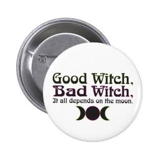 """""""Gute Hexe, schlechte Hexe… """"knöpft Runder Button 5,7 Cm"""