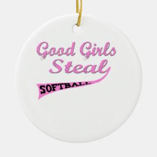 Gute Mädchen stehlen (rosa städtische) Rundes Keramik Ornament
