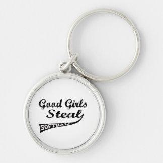 Gute Mädchen stehlen (schwarze städtische) Silberfarbener Runder Schlüsselanhänger