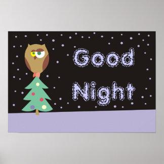 Gute Nachtniedliche Eule auf dem Poster