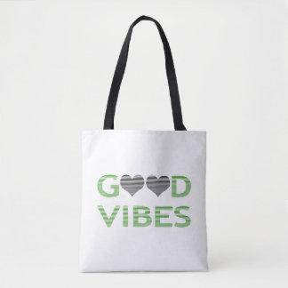Gute Schwingungen - Herz - Schwarzes und Grün Tasche