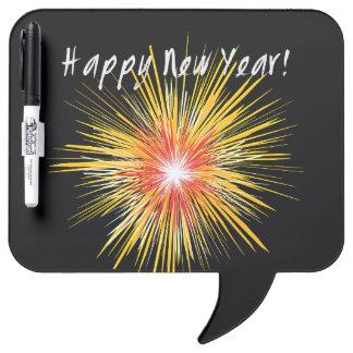 Guten Rutsch ins Neue Jahr-Feuerwerk Trockenlöschtafel