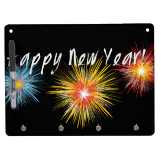 Guten Rutsch ins Neue Jahr-Feuerwerk Trockenlöschtafel Mit Schlüsselanhängern