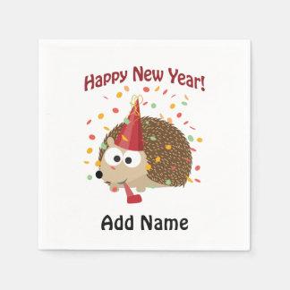 Guten Rutsch ins Neue Jahr! Igel Serviette