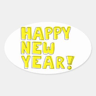 Guten Rutsch ins Neue Jahr! Ovaler Aufkleber