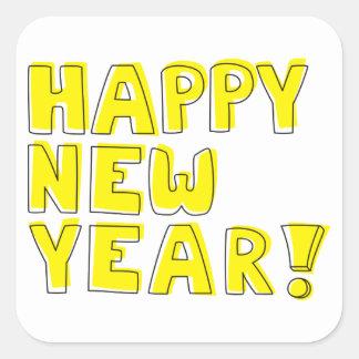 Guten Rutsch ins Neue Jahr! Quadrat-Aufkleber