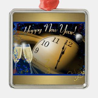 Guten Rutsch ins Neue Jahr Quadratisches Silberfarbenes Ornament