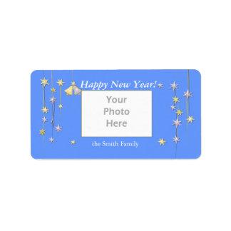 Guten Rutsch ins Neue Jahr spielt Blau die Adressaufkleber
