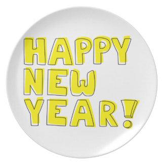 Guten Rutsch ins Neue Jahr! Flacher Teller