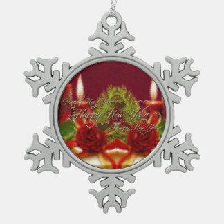 Guten Rutsch ins Neue Jahr-Verzierung Schneeflocken Zinn-Ornament
