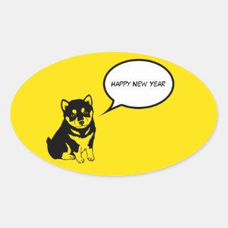 Guten Rutsch ins Neue Jahr-Welpen-Oval-Aufkleber Ovaler Aufkleber