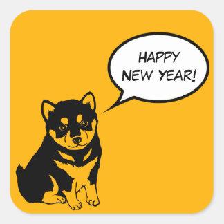 Guten Rutsch ins Neue Jahr-Welpen-quadratischer Quadratischer Aufkleber
