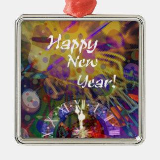 Guten Rutsch ins Neue Jahrfeier Quadratisches Silberfarbenes Ornament