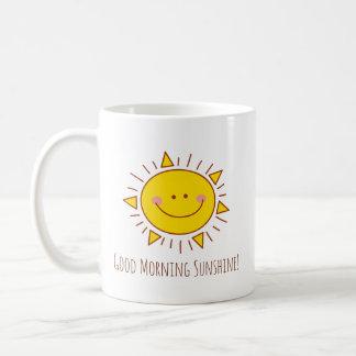 Gutenmorgen-Sonnenschein-glücklicher niedlicher Kaffeetasse